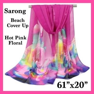 Other - BNWT-  Pink Floral Print Beach Sarong.